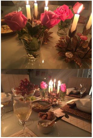 Fondue a luz de velas. na decoração use frutas, flores e rolhas.