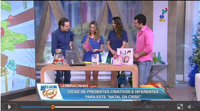 Fefê Rosada no programa Melhor pra Vc da Rede Tv, dando dicas de presentes criativos.