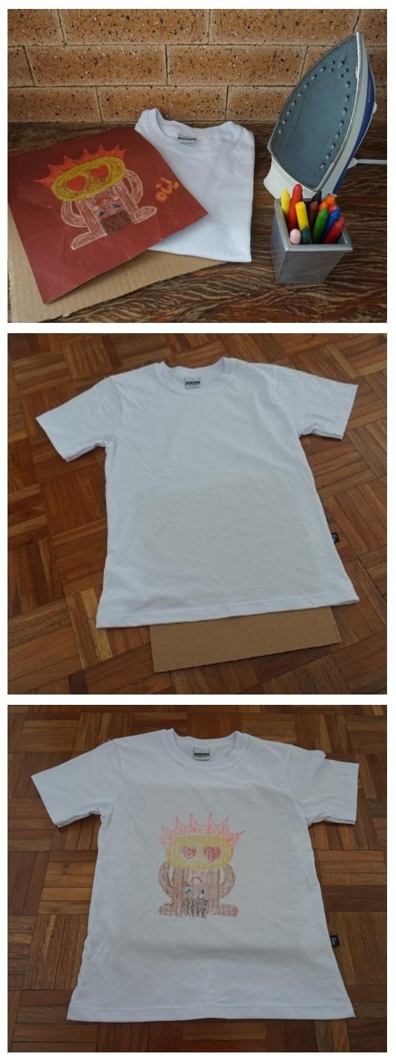 Passo-a-passo de como fazer estampa de camiseta caseira, usando lixa, giz de cera e ferro.