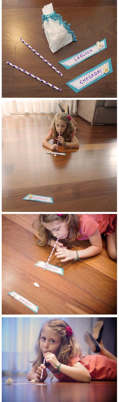 Corrida de pipoca, um idéia super bacana para brincar no improviso.