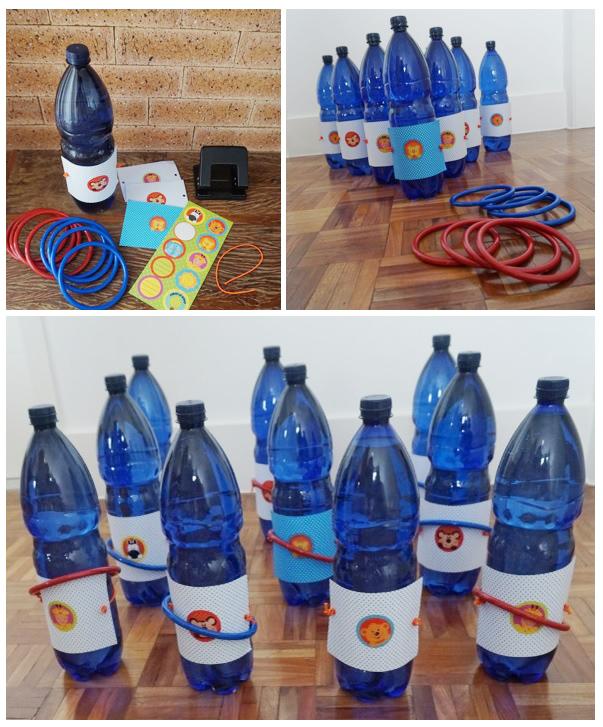 DIY - Jogo de argolas, feitos com garrafas de água.