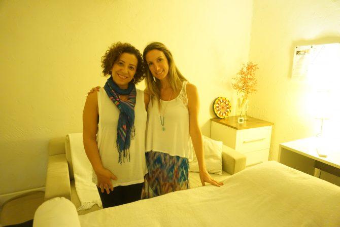 Fefê Rosada com Claudia Alves, terapeuta de Reike