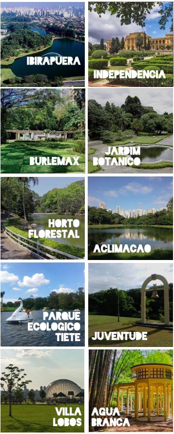principais parques de sao paulo, ibirapeuera, independencia, aclimacao, villa lobos, ecologico tiete,  jardim botanico, juventude, agua branca